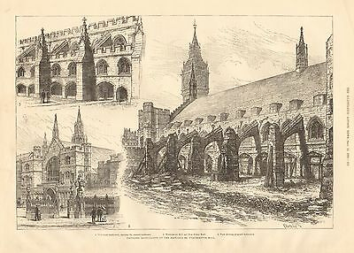 1884 Antique Print Antiques Proposed Restoration Of Exterior Of Westminster Hall