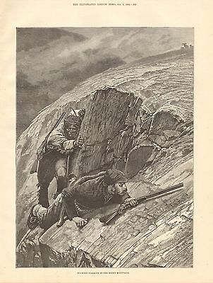 1884 Antique Print-Big Horn Stalking In The Rocky Mountains