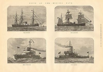 1884 Antique Print-Ships Of Navy-Monarch,alexandra,devastation,glatton