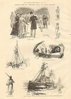 "1884 Antique Print- Sketches From ""illustrated Naval And Military Magazine"""