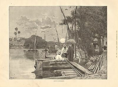 1884 Antique Print-Nile Expedition-Assiout, Upper Egypt