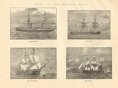 1884 Antique Print-Ships Of Navy-Inflexible,nelson,northampton,sultan