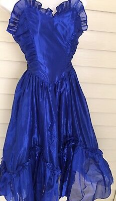 Vintage 80s Blue Strapless Juniors Prom Party Dress Tulle Ruffle Sheer Sz 5