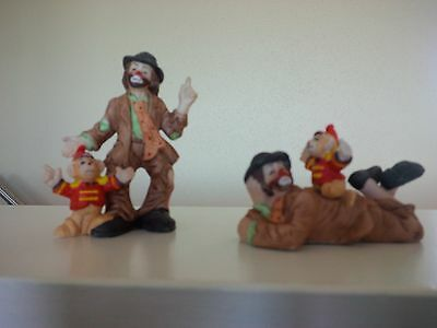 2 Emmett Kelly Jr. Collection Hobo Clowns With Circus Monkey