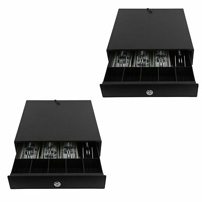 2 Pack Cash Drawer Box Work Compatible Epson Star POS Printers 4 Bill 5 Coin AL