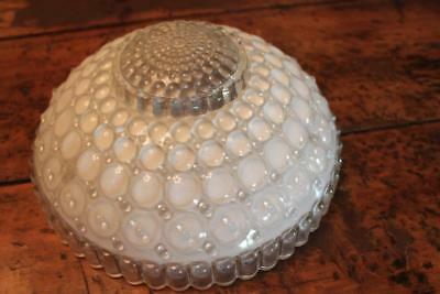 Vintage Milk Glass and Clear Ceiling Light Shade with Bubble Motif