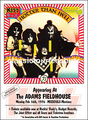 KISS Concert Poster The Adams Fieldhouse Missoula Montana 1976 A3 Repro.. NEW