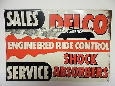 Scarce Delco Tin Sign Sales Service Shock Absorbers Early Advertising Gas Oil