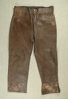 VTG 70s HARLEY DAVIDSON AMF LEATHER MOTORCYCLE RIDING PANTS TROUSERS USA W40 L30