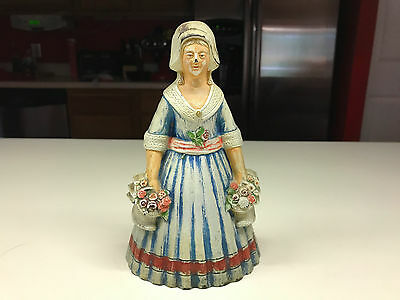 Old Vtg Cast Iron Woman Lady Prairie Doorstop Door Stopper Holding Flowers