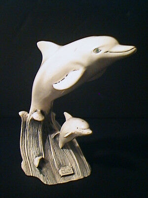 Fine Art DOLPHINS & WAVES SCRIMSHAW RESIN SCULPTURE By COOK Company MINT