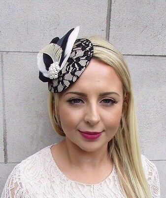 Black Cream Ivory Feather Fascinator Pillbox Hat Races Wedding Vintage Hair 3722