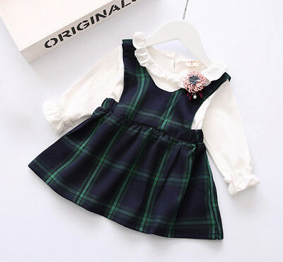 Tartan Check Plaid Dress Pinafore Dress- Set-Outfit-Red Blue Green-Baby Girl