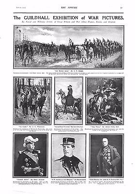 1915 Antique Print - Ww1- Guildhall Exhibition Of War Pictures