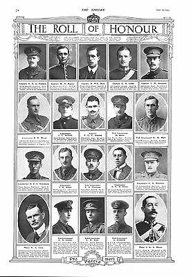 1915 Antique Print - Ww1- The Roll Of Honour #5