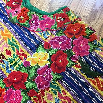 Vintage Huipil Mexican Guatemalan Poncho Embroidered Flowers