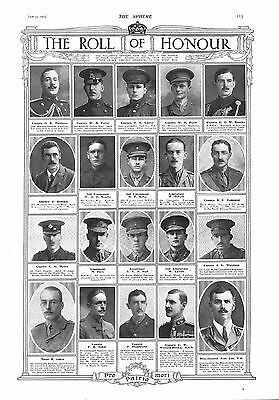 1915 Antique Print - Ww1- Roll Of Honour #6