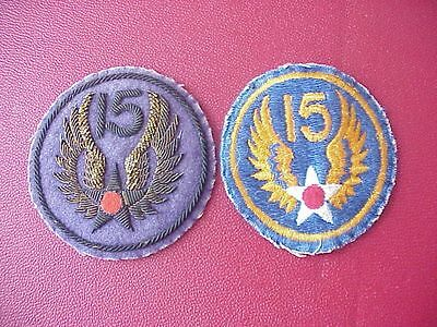 Original Pair Of Wwii 15Th Air Force Patches From Local Pilot Estate - 1 Bullion