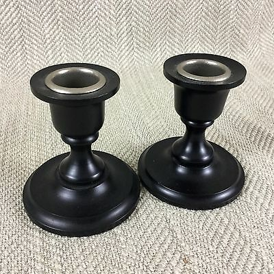 Victorian Candlesticks Wooden EBONY Wood Turned Pair of Dwarf Candle Holders