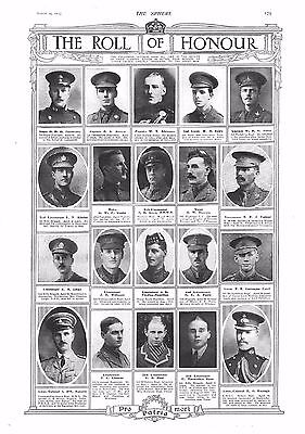 1915 Antique Print - Ww1- Roll Of Honour #7
