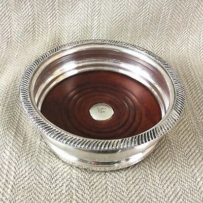 Antique Wine Bottle Coaster Wooden Silver Plate Victorian Large Stand