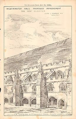 Proposed Restoration Of Exterior Of Westminster Hall Architectural & Garden Other Architectural Antiques 1884 Antique Print