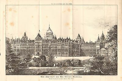 Proposed Restoration Of Exterior Of Westminster Hall Other Architectural Antiques 1884 Antique Print