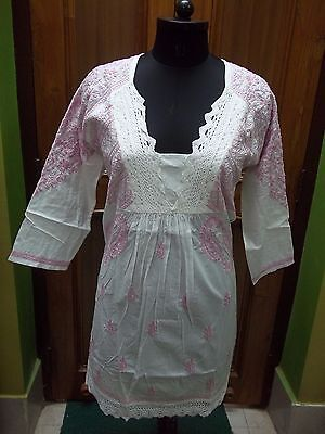 S M L Xl Ethnic 100%cotton Handmade Fine Chikan Embroidery Top Kurta Kurti Tunic