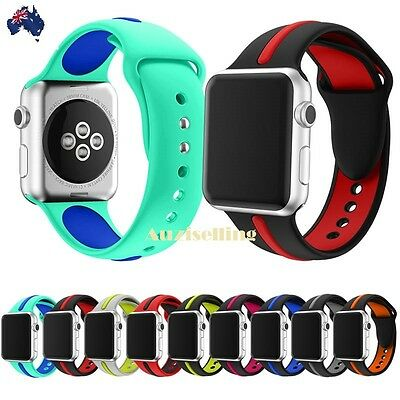 Dual Silicone Bracelet Wrist Sport Band Strap Apple Watch Series 4/3/2/1 38/42mm