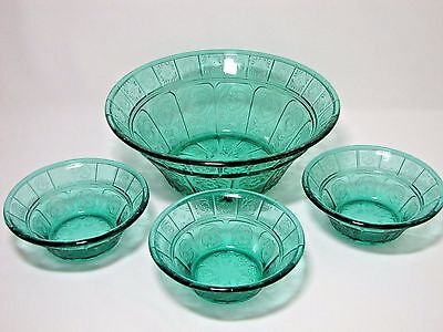 Jeannette Glass Ultramarine Doric and Pansy 8 in Berry Bowl with 3 Serving Bowls