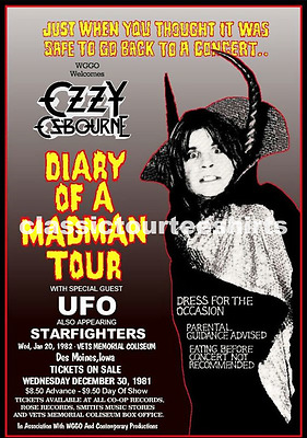 Ozzy Osbourne Concert Poster Vets Memorial Coliseum Iowa 1982 A3 Repro.. NEW