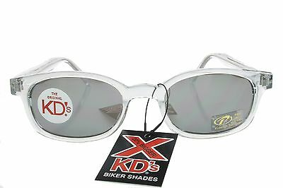 553254732728 X KD's Sunglasses Original Biker Shades Clear Frame Mirror Lens Chill 1200