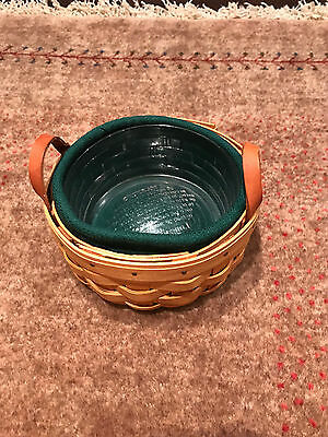 Longaberger Small Round Basket With Leather Handles Liner Protector 2002