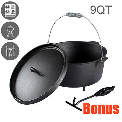Dutch Oven Cast Iron Pot Outdoor Camp Cooking Camping Campfire Cookware 7L
