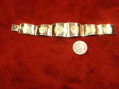 "Beautiful Older Vtg Mexican Made Sterling Silver & Gold ""Aztec"" Panels Bracelet"