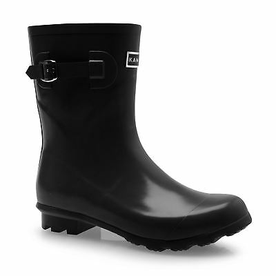 Kangol Low Cut Wellington Gum Boots Womens Black Rubber Rain Wellies
