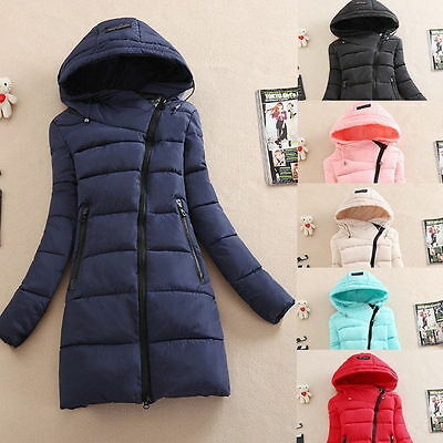 Winter Women Ladies Long Quilted Jacket Hooded Coat Parka Padded Outwear Zipper