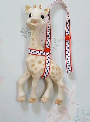 Sophie The Giraffe Harness Strap Red White Blue Star Design & Red Poppers.