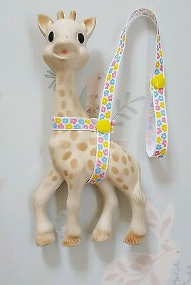 Sophie The Giraffe Harness Strap Pink Yellow Blue Flower Design & YellowPoppers.