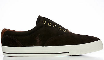 Polo Ralph Lauren Men's Lace Less Fashion Sneakers Vito Brown Authentic New