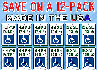 Reserved Handicap Parking Sign 12-PACK ONLY $7.40ea Aluminum Metal Signs 8x12