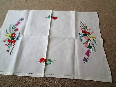 """Embroidered tray cloth 22""""x25 1/2"""""""