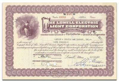 Lowell Electric Light Corporation Stock Certificate