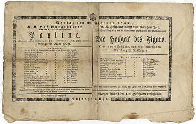 [MOZART, Wolfgang Amadeus]: Broadside playbill announcing 2 performances in 1842