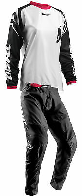 Thor Womens Black/Pink/White Sector Zones Dirt Bike Jersey & Pants Kit MX ATV 18