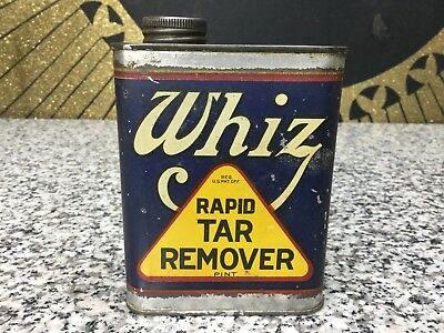 Whiz Rapid Tar Remover Tin Vintage Antique Advertising Pint Can Old Car Garage