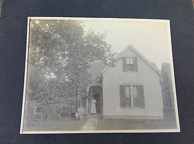 Matted Photograph on Board - Seated Husband & Wife w/Flower in Doorway