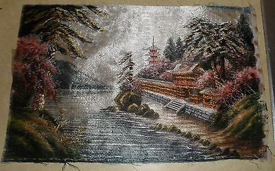 "Vintage Japanese Hand Embroidered Silk Panel - 12 by 18 1/2""  1950-53"