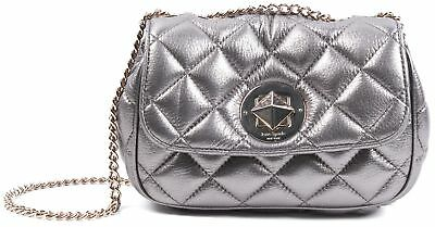 KATE SPADE Silver Pewter Quilted Leather Chain Strap Shoulder CrossBody Bag