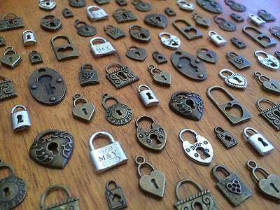 1-100 Bronze & Silver Padlock Charms for Scrapbooking & Cardmaking